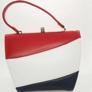 Vintage 60s Red White Blue Trapezoid Handbag Purse